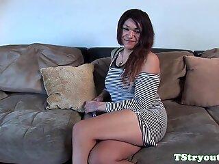 Tugging tranny filmed during audition