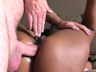Ebony anal fingered and fucked in casting