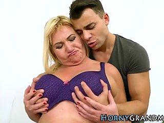 Granny gets jugs spermed