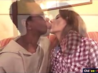 Wanessa gets rubbed by mature black guy before sucking cock