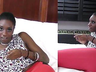 Teen ebony takes facial