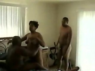 Black Big Ass Milf Sucking BBC Threesome