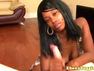 Ebony teen tugging white dick POV