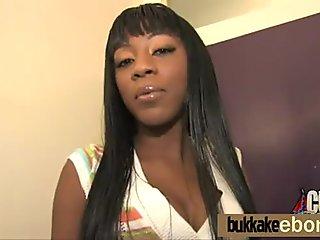 Ebony babe bukkake party 23