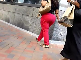 Mature Red Bottom Booty Downtown!