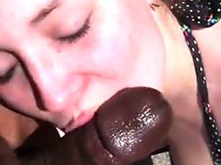 White Chick Sucking BBC Outdoors