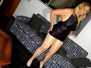 Sexy granny in shiny pantyhose