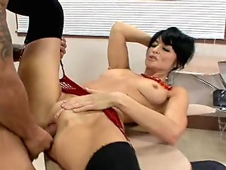 Big ass blonde MILF in high heels sucking black dick and boning