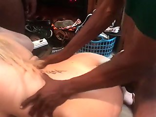 First gangbang fucked in all wholes and swallows all