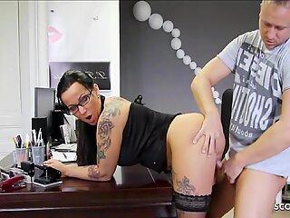 German MILF Teacher with Glasses Fuck Student at School